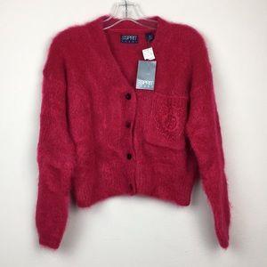 NWT ESPIRIT SPORT Pink Eyelash Cardigan Sweater